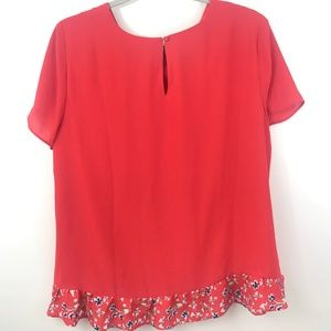 The Limited Tops - The Limited Ruffle Bottom Top Large Orange Floral
